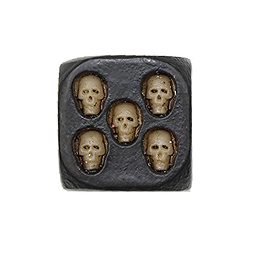 Aolvo 5Pcs Black Skull Dice Skull Deluxe Devil Dice Gothic Gambling Dice Wooden Dice For Gaming ,Party, Bar, Entertainment,Decoration