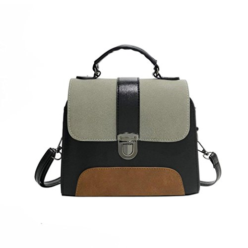 Hot Sale! Women Bag, Neartime 2018 Girl Fashion Patchwork Leather Buckle Bag Versatile Crossbody Flap Shoulder Bag (❤️21cm(L)×6cm(W)×9cm(H), Gray)