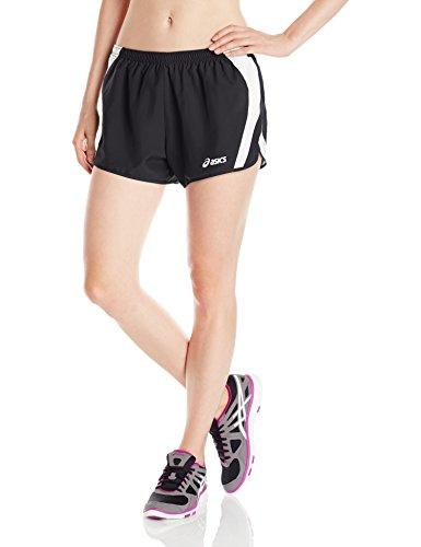 ASICS Women's Squad Split Shorts, Black/White, Small (White Shorts Split Black And)