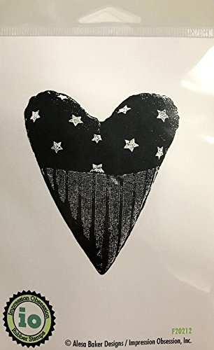Patriotic Heart Stamp (Impression Obsession IO Patriotic Heart Cling Mounted Rubber Stamp F20212)
