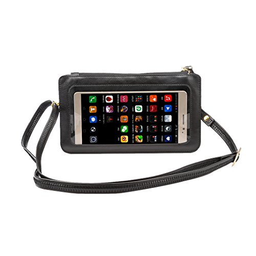 PU Strap Pouch Adjustable 4 Purse Black Case Samsung Crossbody Smartphone Leather Moon inch Window iPhone Black Touch Bag with View Universal Phone Screen Lanyard mood Wallet Bags Shoulder Cell for 6 q6pw1ZXxRn