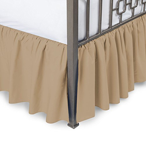 Amazon Luxurious 800TC Pure Cotton Dust Ruffle Bed Skirt 22' Drop length 100% Egyptian Cotton Taupe Full Size