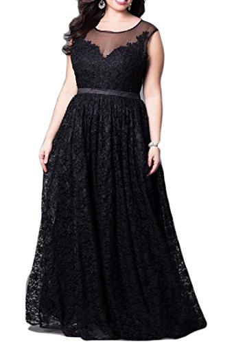 Confortables Femmes Plis Coutures Bordure En Dentelle Taille Plus Robe De Soirée Noire