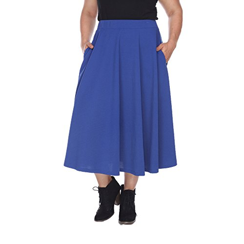 White Mark Women's Plus Size Tasmin Flare Midi Skirt 1XL Royal from White Mark