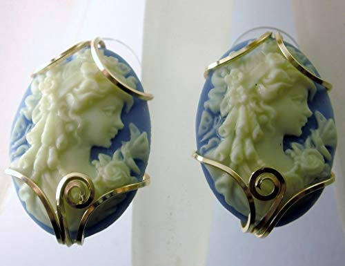 (14k Gold Filled Cream Blue Grecian Goddess Cameo Earrings)