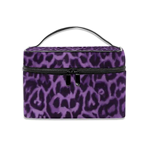 - Royal Purple Leopard Portable Travel Makeup Bag Cosmetic Organizer Tote Bag for Women Girls