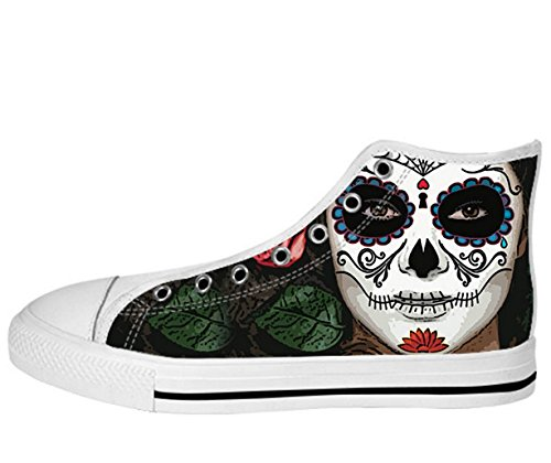 Kvinnor Canvas Kängor Day Of The Dead Designen Dayofdead Shoes11