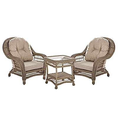 W Unlimited Saturn Collection Garden Patio Furniture Cappuccino Wicker Outdoor Furniture Bistro Set Beige Cushion Lounger Deep Seating (3 Piece Set) - Traditional hand woven wicker strapping with full size round core all-weather resin rattan. Proven to withstand over 4000 hours in direct UV light without fading or warping. Lightweight aluminum frame provides unmatched protection and impact resistance. Elegance by design. Perfect for a time of great conversation! Great pieces for a nice evening outside with friends and family! - patio-furniture, patio, conversation-sets - 41ZY%2BxuTGeL. SS400  -