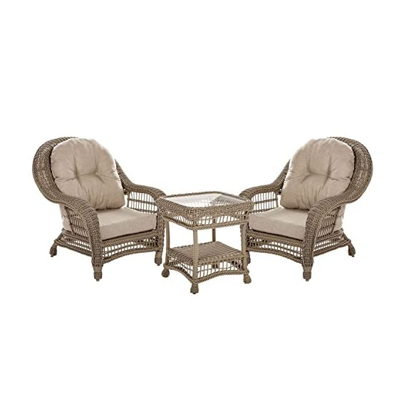 W Unlimited Saturn Collection Garden Patio Furniture Cappuccino Wicker Outdoor Furniture Bistro Set Beige Cushion Lounger Deep Seating (3 Piece Set) - Traditional hand woven wicker strapping with full size round core all-weather resin rattan. Proven to withstand over 4000 hours in direct UV light without fading or warping. Lightweight aluminum frame provides unmatched protection and impact resistance. Small and decorative. Simplistic yet chic. Perfect for a time of great conversation! Great pieces for a nice evening outside with friends and family! - patio-furniture, patio, conversation-sets - 41ZY%2BxuTGeL. SS570  -