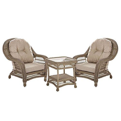 W Unlimited Saturn Collection Garden Patio Furniture Cappuccino Wicker Outdoor Furniture Bistro Set Beige Cushion Lounger Deep Seating (3 Piece Set)