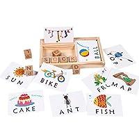 Wooden Develops Alphabet Words Spelling Letter Block for Girls Boys Gift, Preschool Learning Toys, Matching Letter Game (30pcs Cards)