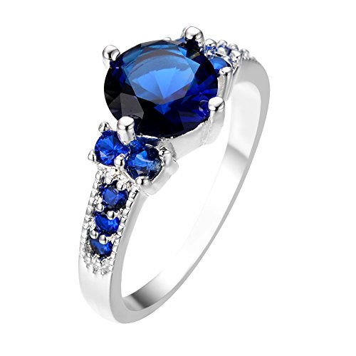 Rongxing Jewelry Blue Sapphire Round Ring 10 Women's White Gold Filled ()