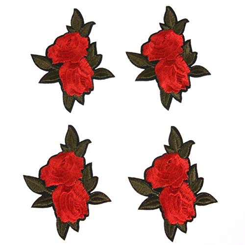 Sala-Store - 5Pcs Rose Flower Embroidery Patches Iron On DIY Embroidered Appliques Patches Stickers for Clothes Embroidered Sewing Fabric