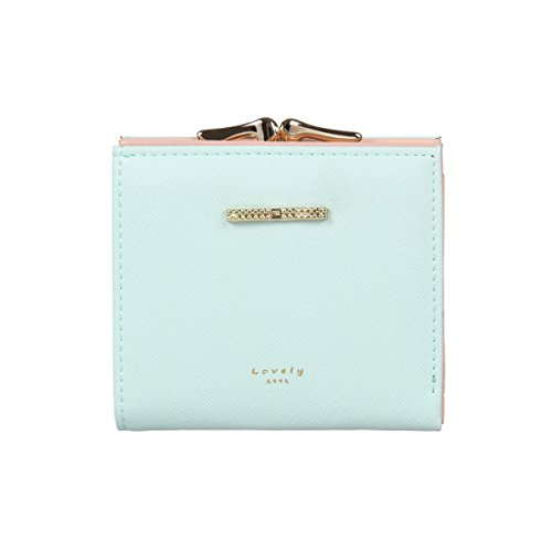 Damara Womens Pure Color Card Case Wallet with Bowknot,Light Green