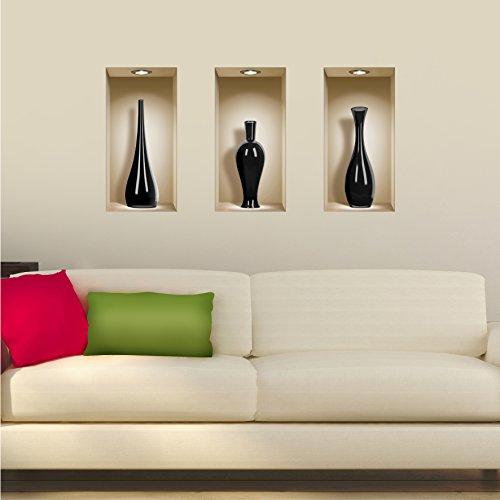 The Nisha Art Magic 3D Vinyl Removable Wall Sticker Decals DIY, Set of 3, Black Ceramic Vases (Vase Vinyl)