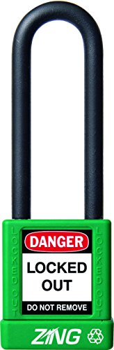 ZING 7050 RecycLock Safety Padlock, Keyed Different, 3'' Shackle, 1-3/4'' Body, Green by Zing Green Products