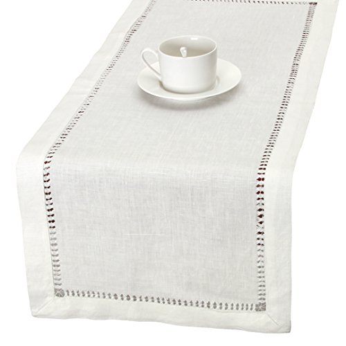 100% Pure Linen Handmade Hemstitched White Lace Table Runners, Rectangle 14×48 inch