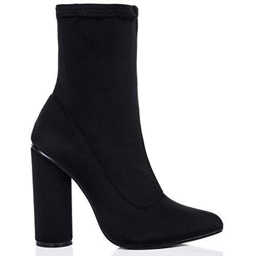 SPYLOVEBUY SCIRICA Mujer Tacón Bloque Botes Bajas Zapatos Negro - Lycra