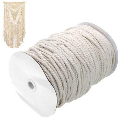 FidgetKute 4mm Beige Macrame Rope Cotton Twisted Cord Artisan Hand Craft DIY 100/300M Sale 300M