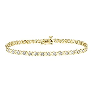Diamond Wish 14k Gold Round Cut Diamond Tennis Link Bracelet (1/5 cttw, O.White, I2 I3)