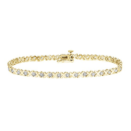 Round Link Diamond Tennis Bracelet - 14k Yellow Gold Round-cut Diamond Tennis Link Bracelet (1/5 cttw, O.White, I2-I3)