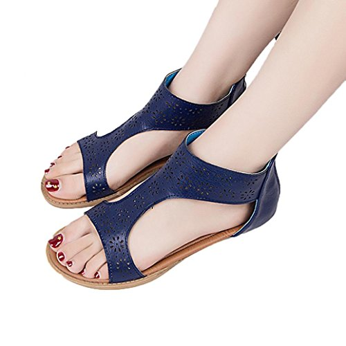 Tefamore Women Gladiator Sandal Back Zip Closure Insole Sandal U9GN5