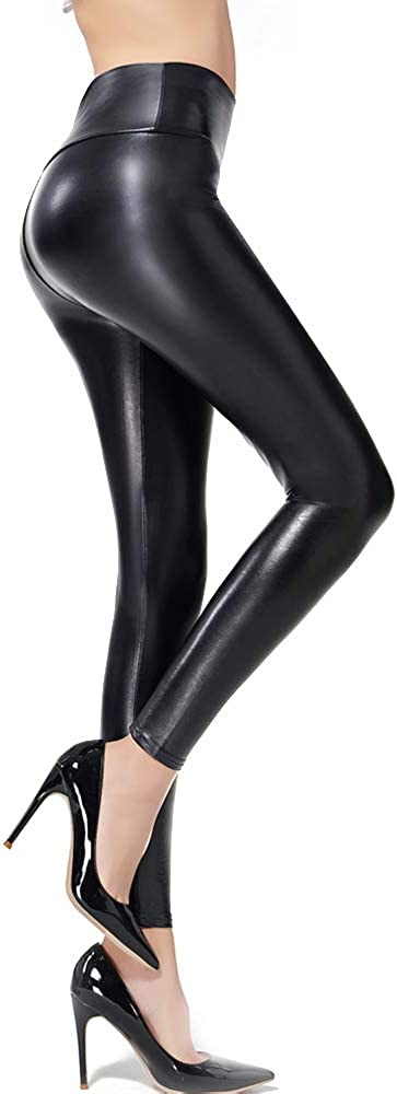 Ginasy Faux Leather Leggings Pants Stretchy High Waisted Tights for Women at  Women's Clothing store