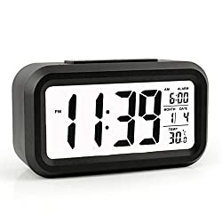 HeQiao Slim Digital Clock Large LCD Travel Alarm Clock with Calendar Battery Operated for Home Office (Temperature Display, Snooze Function, White Night Light) Black