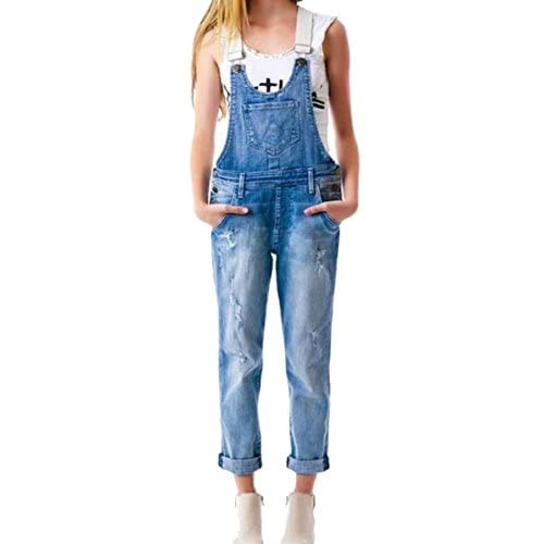 New GALMINT Women's High Waisted Ripped Washed Denim Blue Overall Jumpsuit Sleeveless Romper for cheap