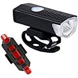 TYESHA Luz de bicicleta com carregamento USB super brilhante, luz de ciclismo à prova d'água, luz frontal de bicicleta, conju