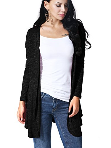 JayJay Women Open Front Casual Knit Long Sleeve Sweater Classic Cover Up Cardigan,Black,M