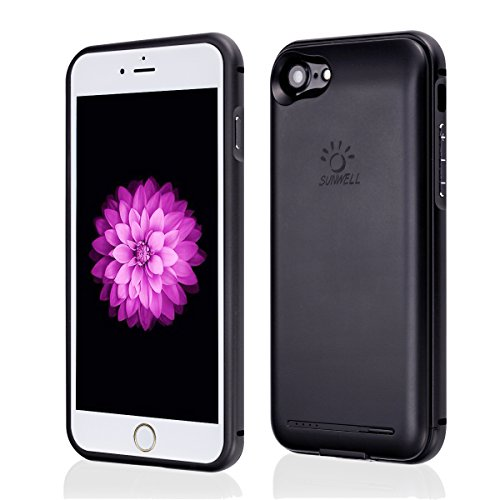 iPhone 7 case battery, iphone 7 rechargeable case with 2800mAh capacity iPhone 7 case charger (iPhone 7 -Black -4.7')
