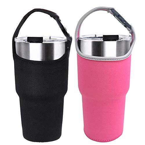 2 Pack Tumbler Carrier Holder Pouch for All 30oz Stainless Steel Travel Insulated Coffee Mug,DanziX Neoprene Sleeve with Carrying Handle,Fit for YETI Rambler Ozark Trail Rtic and - Pouch Handle