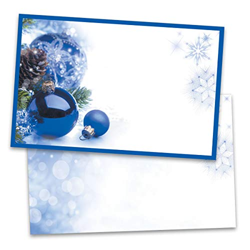 Sapphire Christmas Postcards, Silver Foil Accents, 100 Count, Jumbo 5½ inch x 8½ inch