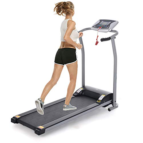 Lantusi Easy Assembly Folding Electric Treadmill Running Training Machine Equipment for Home (US Stock) US S Sliver