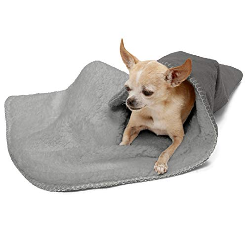 FurHaven Pet Throw Blanket | Snuggly & Warm Faux Lambswool & Terry Pet Throw Blanket, Silver Gray, Small