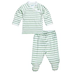 Under The Nile 2 Piece Side Snap L/S Layette Set~Sage/Off White Stripe~3-6m