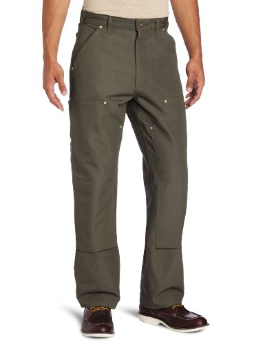 Carhartt Men's Double Front Duck Utility Work Dungaree B01,Moss,34 x 30