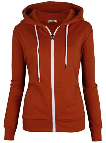 (MAJECLO Women's Casual Full-Zip Hooded Lightweight Long Sleeve Sweatshirt(Small,)