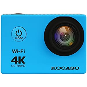 "KOCASO 4K WIFI Sports Action Camera Ultra HD Waterproof DV Camera, 2"" LCD Display, Supports Slow Motion/Time Lapse/Loop/Driving Record. Built-In Wi-Fi/HDMI, FREE Waterproof Underwater Case- Blue"