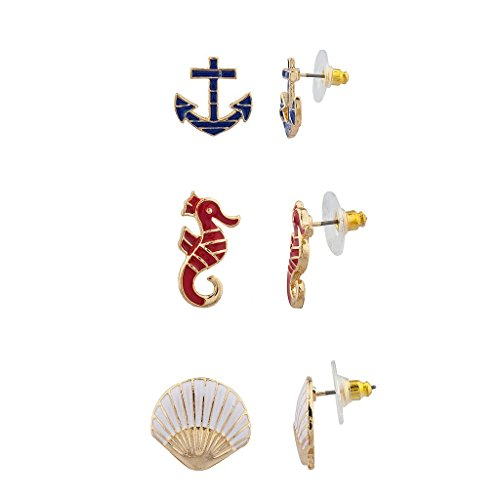 [Lux Accessories Achor SeaHorse Sea Shell Nautical Ocean Multi Earring Set (3PC)] (Seahorse Costume Women)