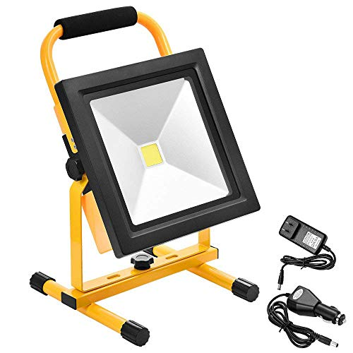 Halogen Lamp Rechargeable - Echoming 50W LED Work Light,6000LM Portable Rechargeable 84 LED Flood Light IP65 Waterproof 360 Degree Adjustable Stand Working Light for Workshop,Construction Site, 400W Halogen Bulb Equivalent