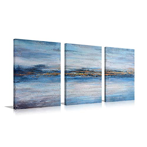 Handmade Abstract Oil Painting Canvas - Golden Line Handmade Oil Painting Abstract Blue and Gold Large Canvas Contemporary Wall Art Decor (Blue A, Inner Framed)