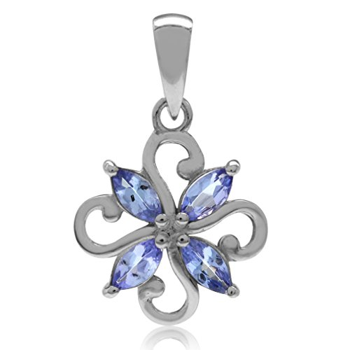 Genuine Tanzanite White Gold Plated 925 Sterling Silver Victorian Style Flower ()
