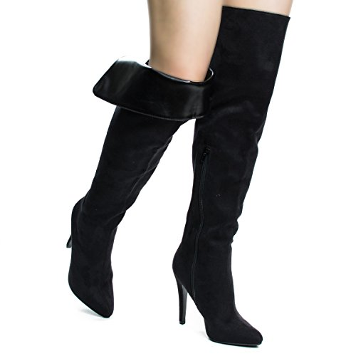 Thigh Foldable High Blacksuede Knee Boots Stiletto Heel OTK Dress Over The High 774wrq0C