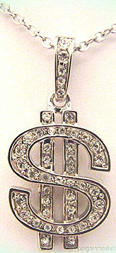 Silver Tone Pave Crystal Dollar $ Sign Pendant Charm Necklace For Women