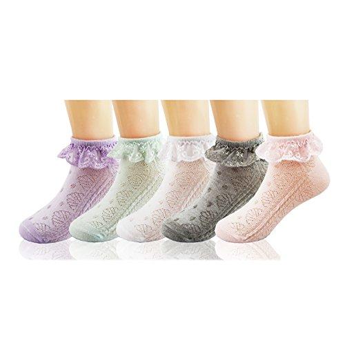 (Deer Mum Girls Cute Princess Style Lace Top Dress Socks (S, SET 8))