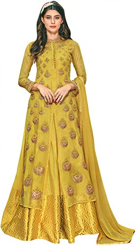 Exotic India Symphonic-Sunset Flared Woven Gown with Heavy Zari Embroid - Yellow