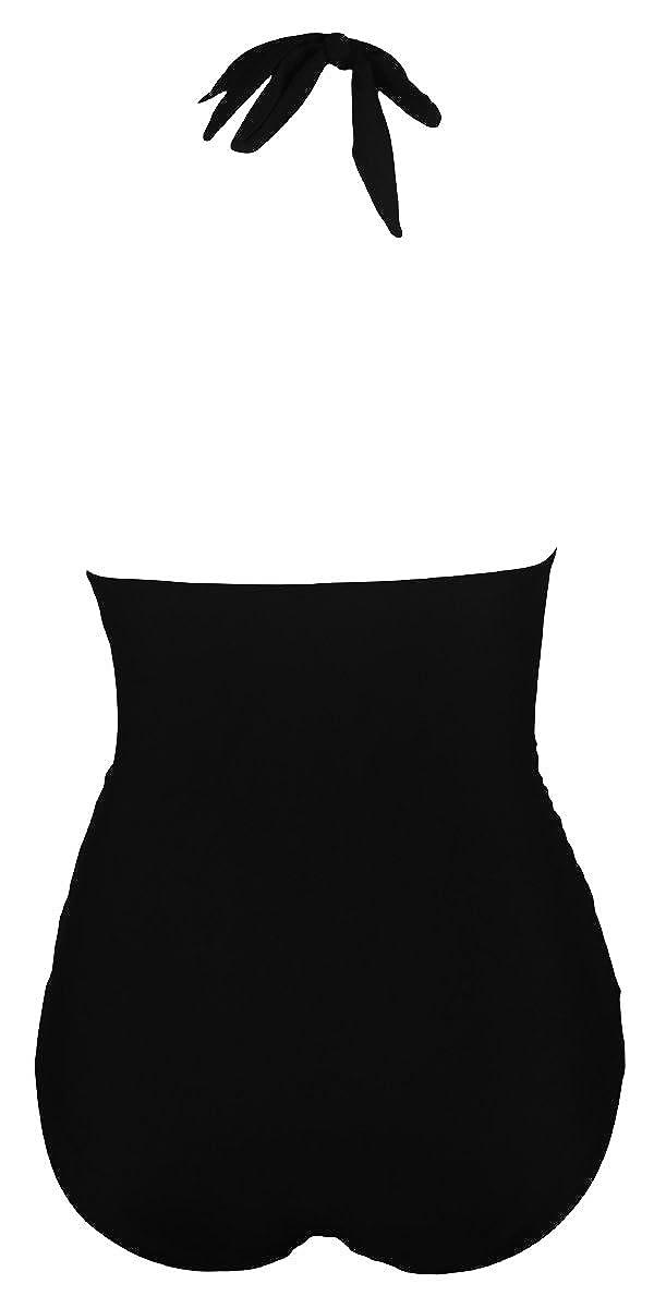 Qiaoer Womens Vintage Push up Halter Backless High Waisted Bikini Swimsuit Set