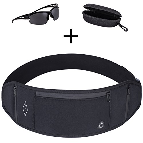 VerusLeo Travel Running Belt for Men and Women Adjustable Neoprene Waist Pack Money Belt with Large Phone Holder Pocket + Sports Sunglasses with Carry case by VerusLeo